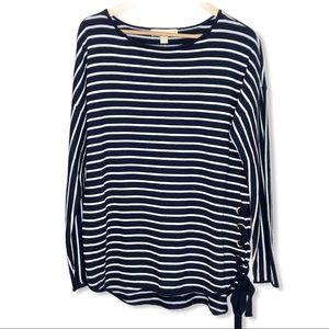 Michael Kors Lace-Up Sweater Navy White Striped L